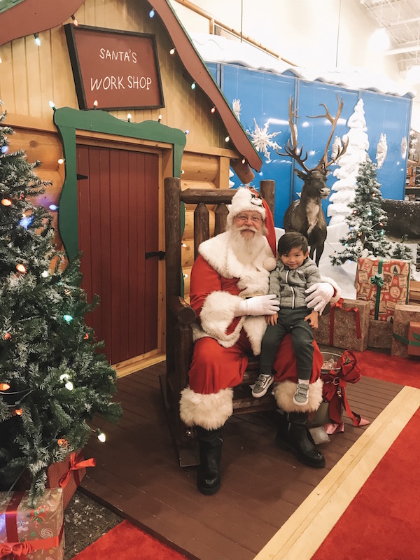 child visiting santa at Cabela's in Columbus, Ohio