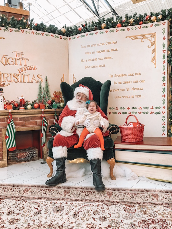 child on Santa's lap at Easton Town Center in Columbus, Ohio