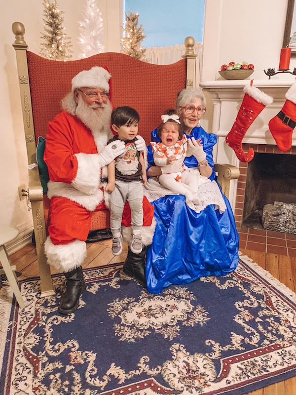kids with Santa and Mrs. Claus at the Snowflake Castle in Westerville, Ohio