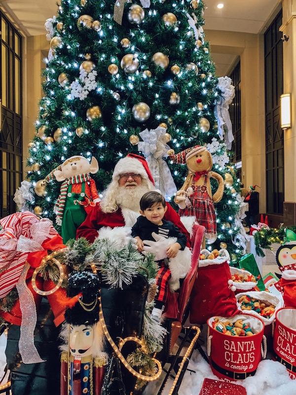 Child on Santa's lap at the Lazarus Building in Columbus, Ohio