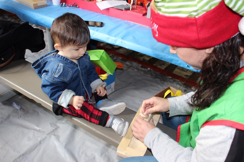 child building a toy at the Snowflake Castle in Westerville, Ohio
