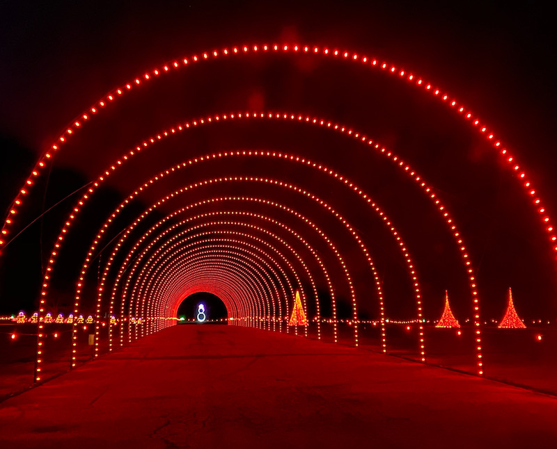 a tunnel of red lights at WonderLight's Christmas holiday lights drive through near Columbus, Ohio