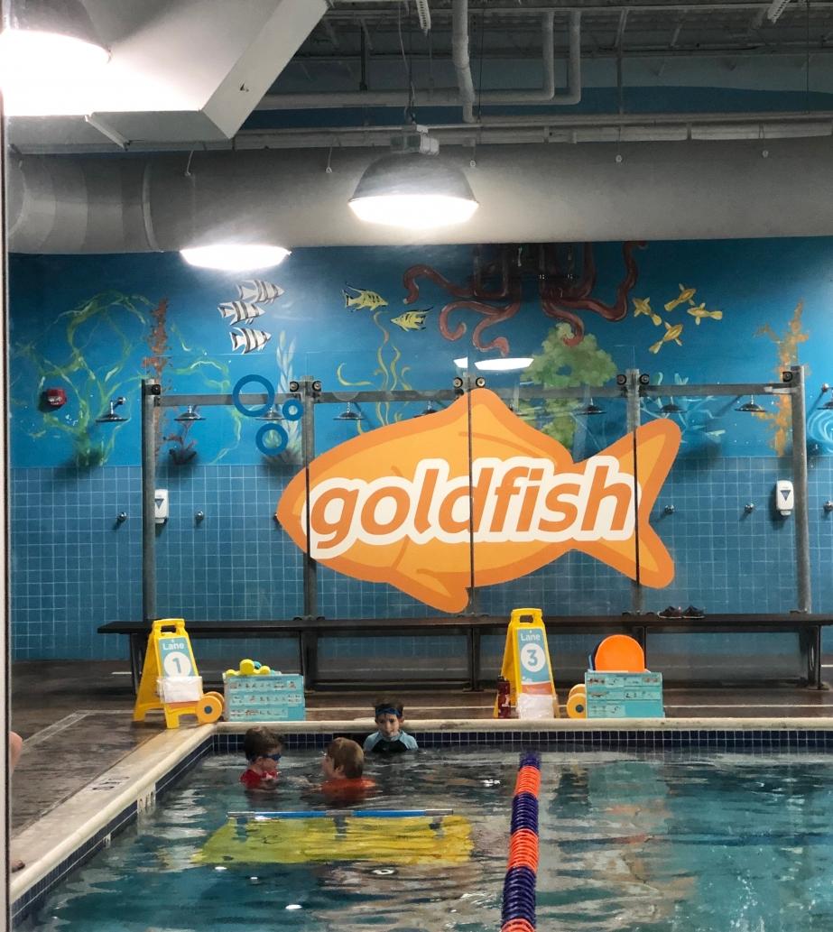 boys in the pool at Goldfish Swim School Dublin, Ohio