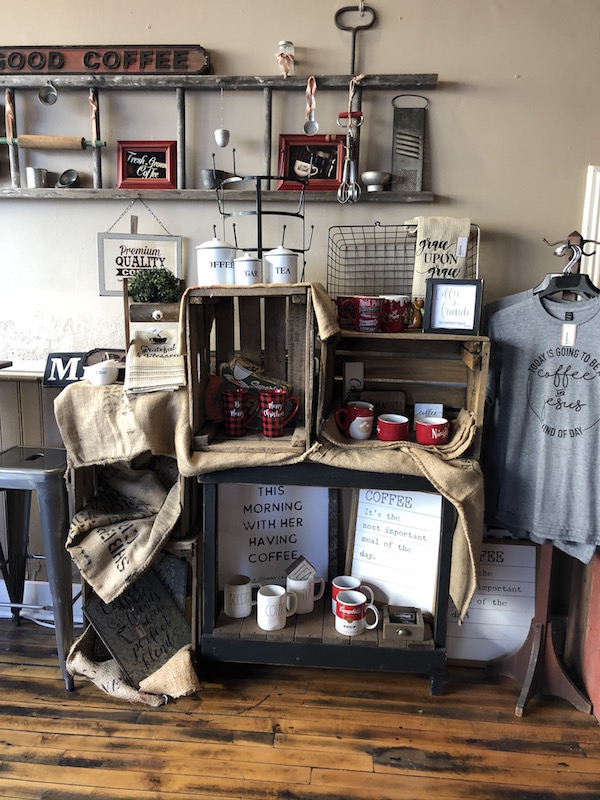 merchandise for sale at Sweet Aromas coffee shop in downtown Bellefontaine, ohio