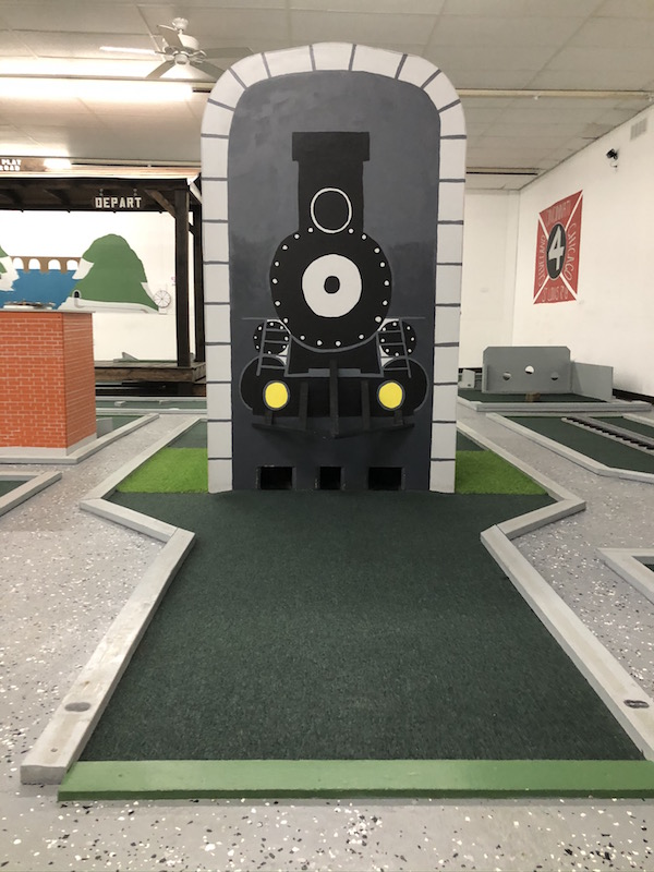 train themed mini golf at Putt and Play in Bellefontaine, Ohio