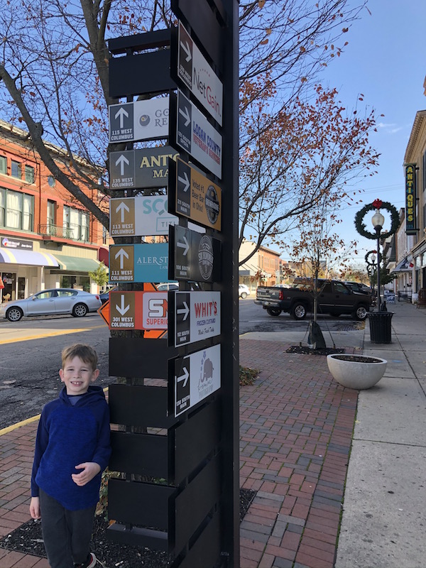 child in downtown Bellefontaine, Ohio