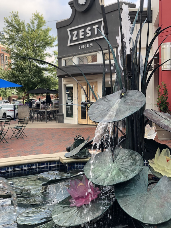 frog fountain and stores at Easton Town Center