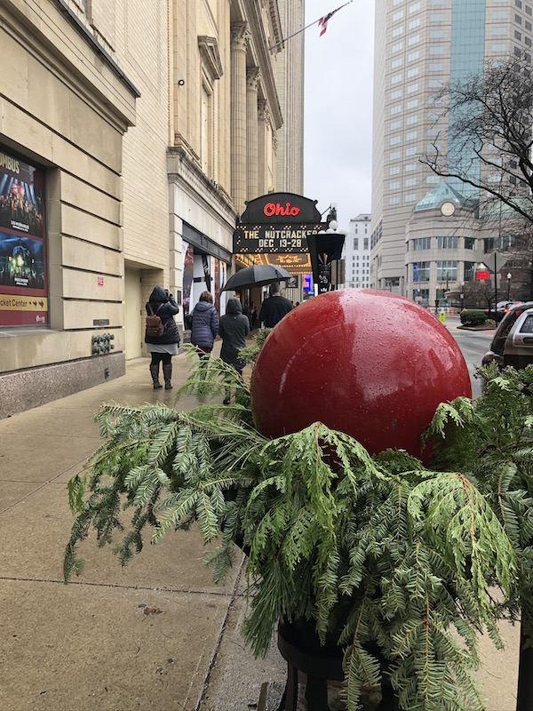 decorations outside Ohio Theatre