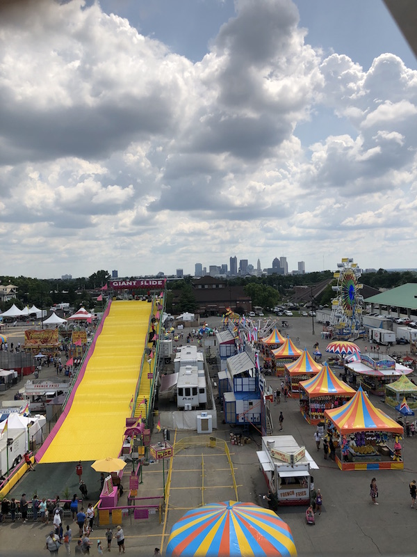 view of downtown Columbus from the ferris wheel at Ohio State Fair