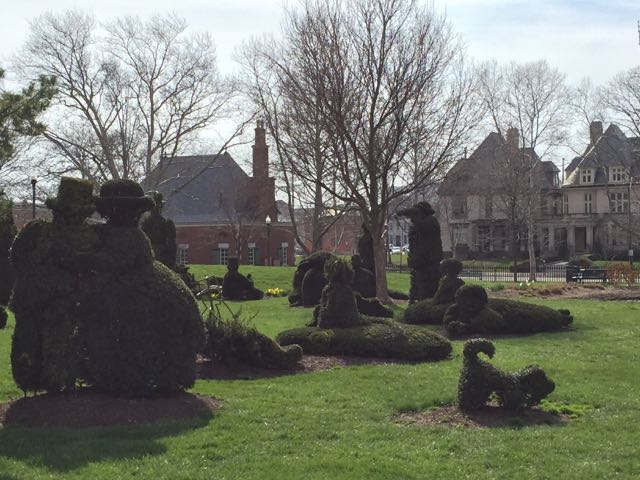 Topiary animals in the park.