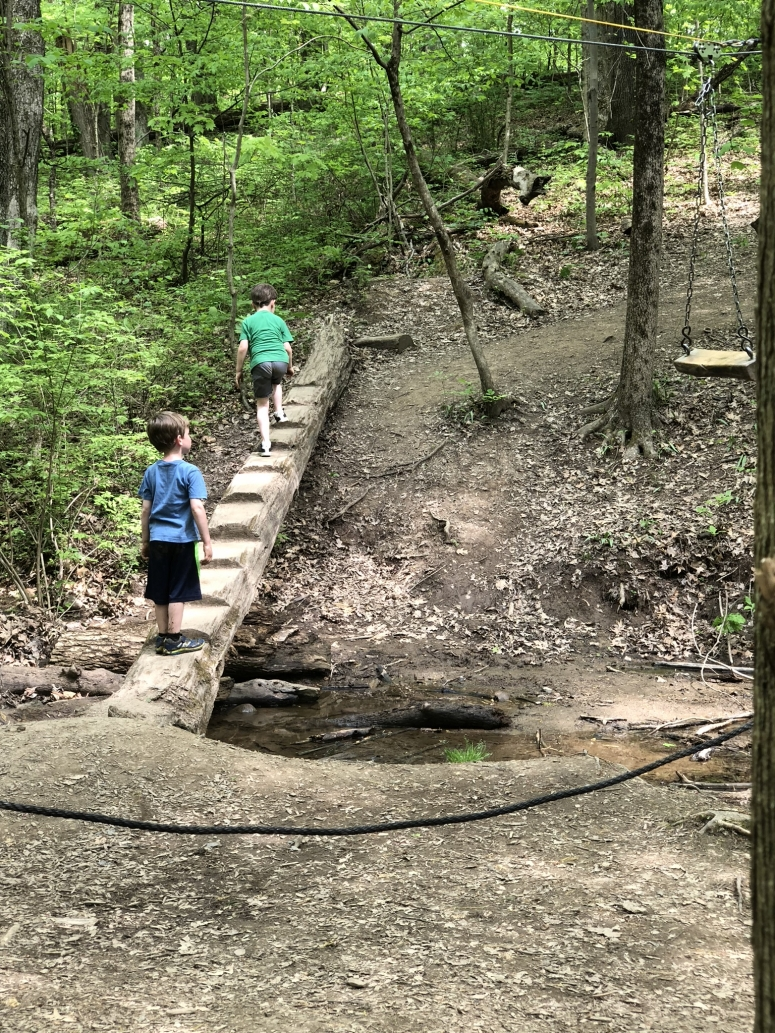 Boys walking across a bridge at the Natural Play Area at Blendon Woods Metro Park