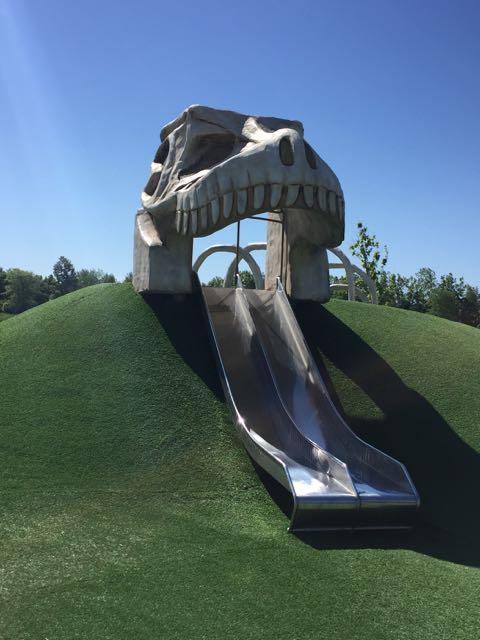 dinosaur park with a dinosaur slide in Delaware Ohio