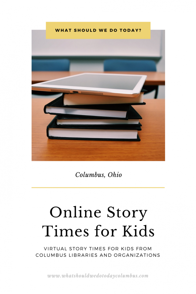 online story times for kids a stack of books and an iPad