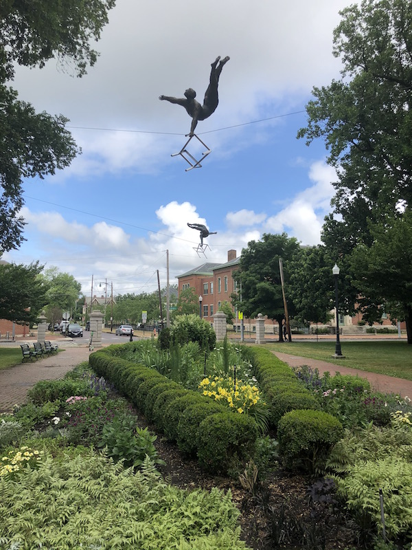 suspended statues at Schiller Park in German Village, Columbus, Ohio