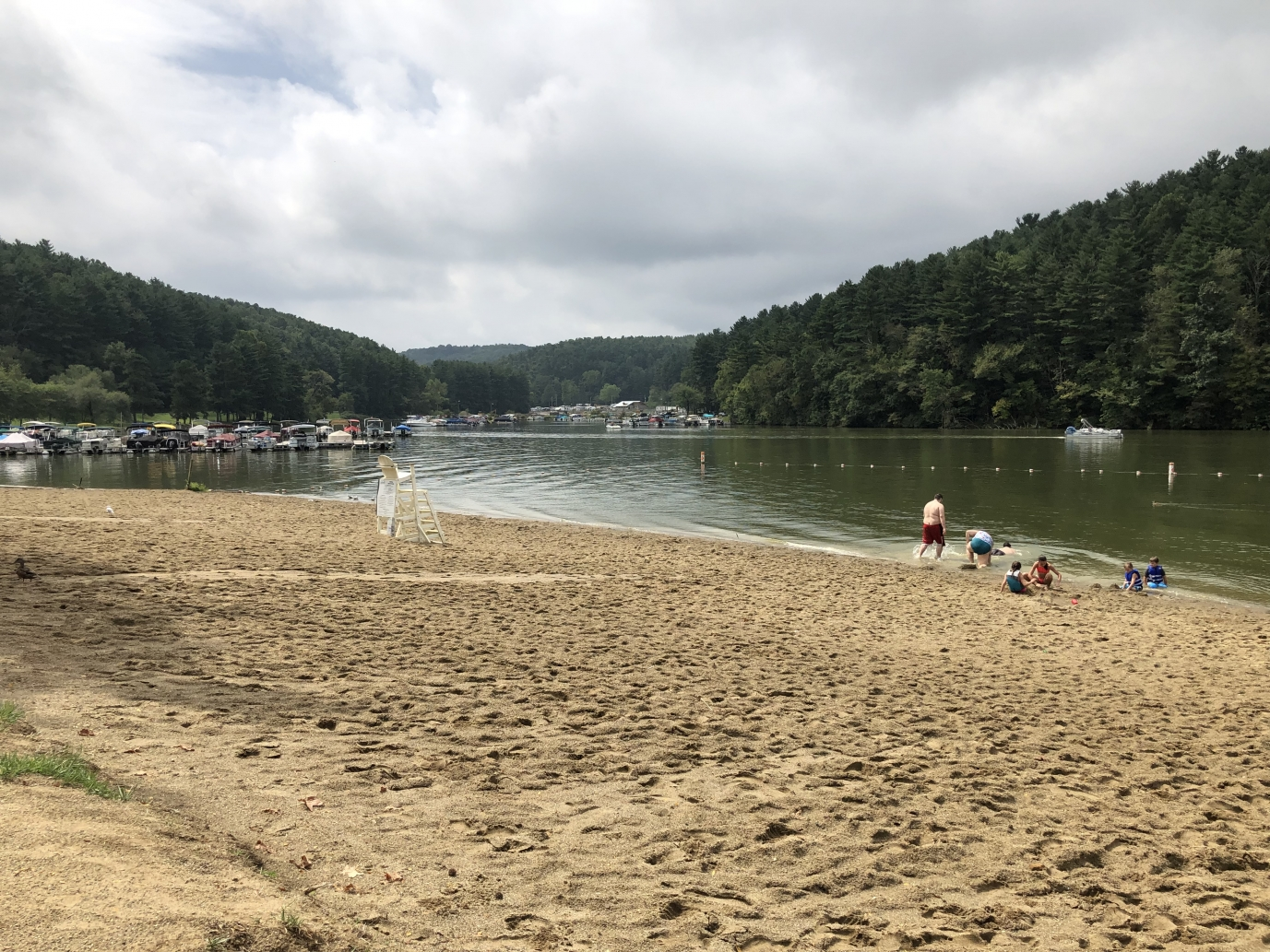 people on beach at Tappan Lake in Ohio