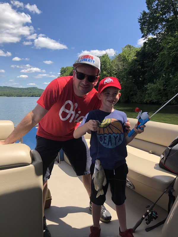 father and son fishing at Seneca Lake Ohio