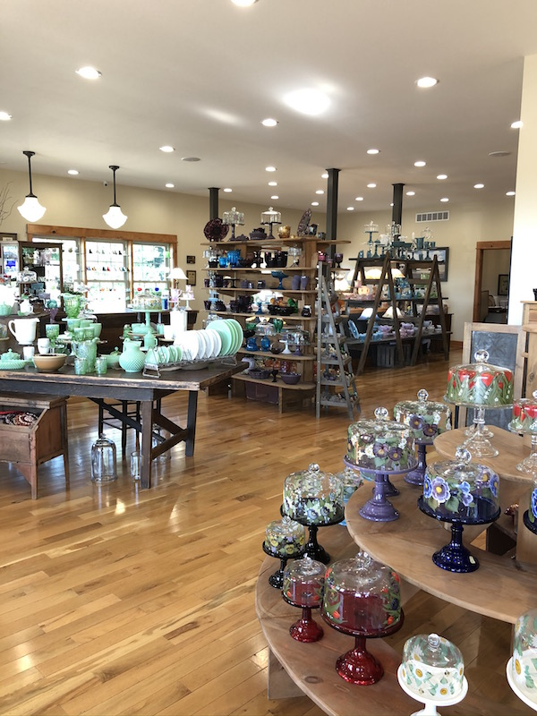 the gift shop at Mosser Glass in Cambridge, Ohio