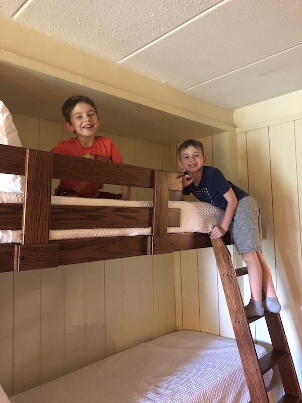 boys on a bunk bed at Salt Fork State Park Lodge