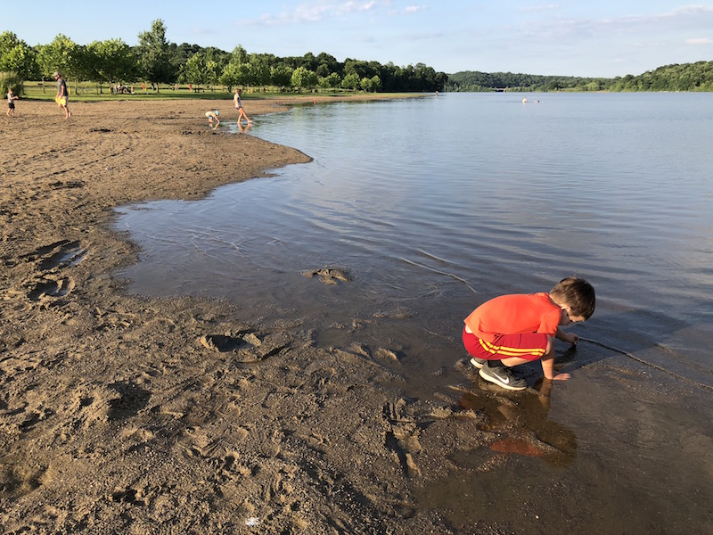 boy on the beach at Salt Fork State Park in Guernsey County, Ohio