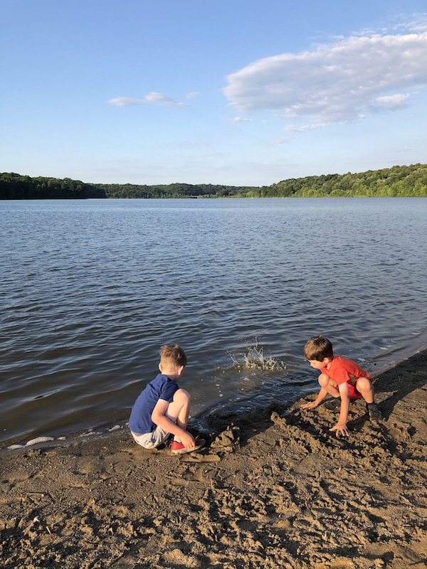two boys on Salt Fork State Park Beach in Ohio