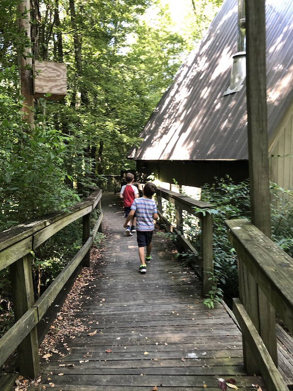 boys walking on the path through the Ohio Bird Sanctuary