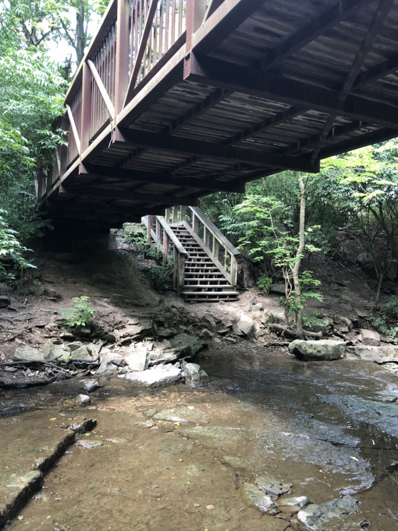 pedestrian bridge at Indian Run Falls