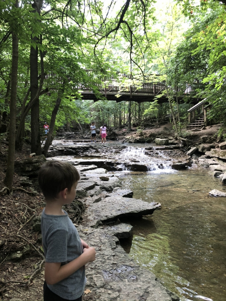 boy in creek area of Indian Run Falls
