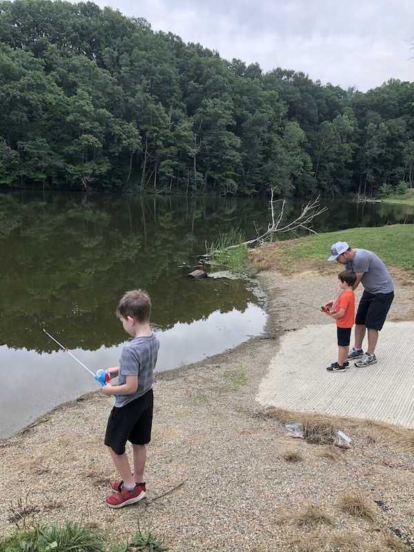 dad and two boys fishing at Mt. Gilead Lake