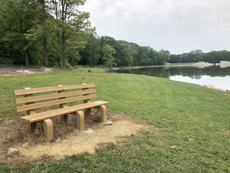 bench next to the lake in Mt. Gilead State Park