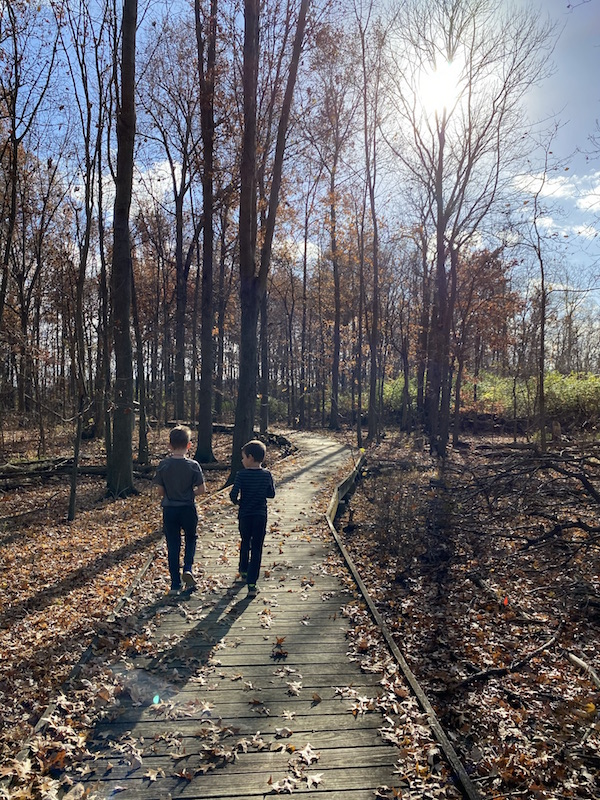 two boys walking on the boardwalk trail at Sawmill Wetlands Educational Area in Columbus, Ohio