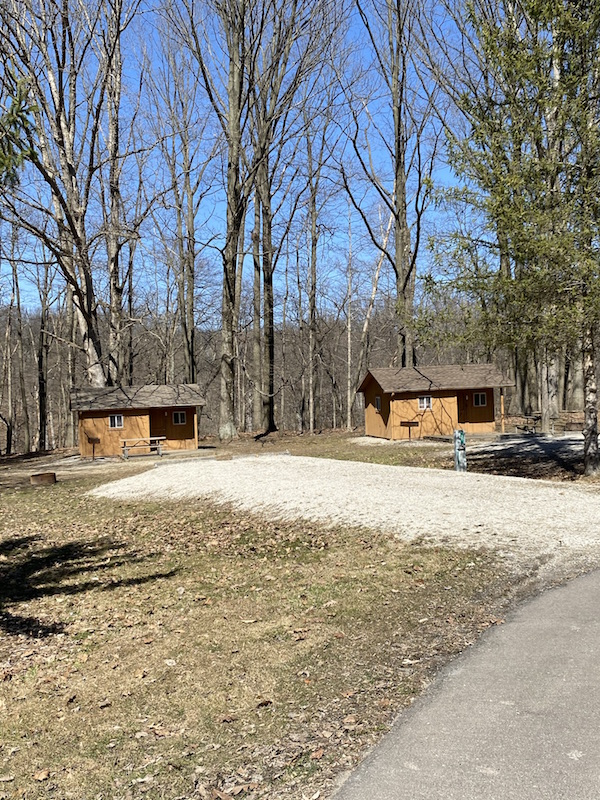 two camper cabins at Mt. Gilead State Park.
