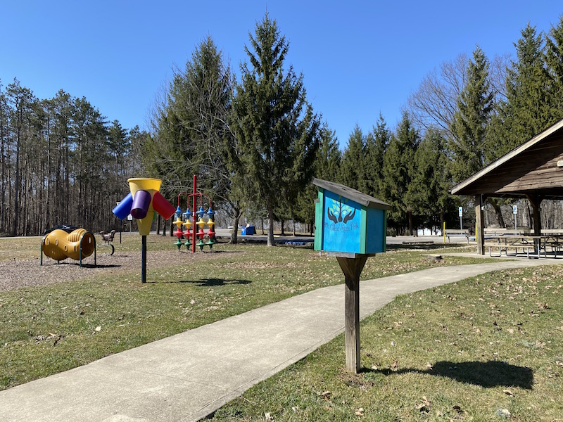 playground and pavilion at Mt. Gilead State Park Camping Area.