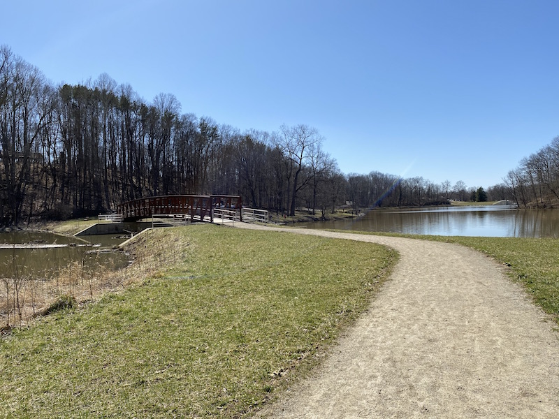 Bridge between the Upper and Lower Lakes at Mt. Gilead State Park.