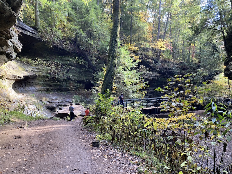 two boys approaching a bridge in the gorge of Old Man's Cave