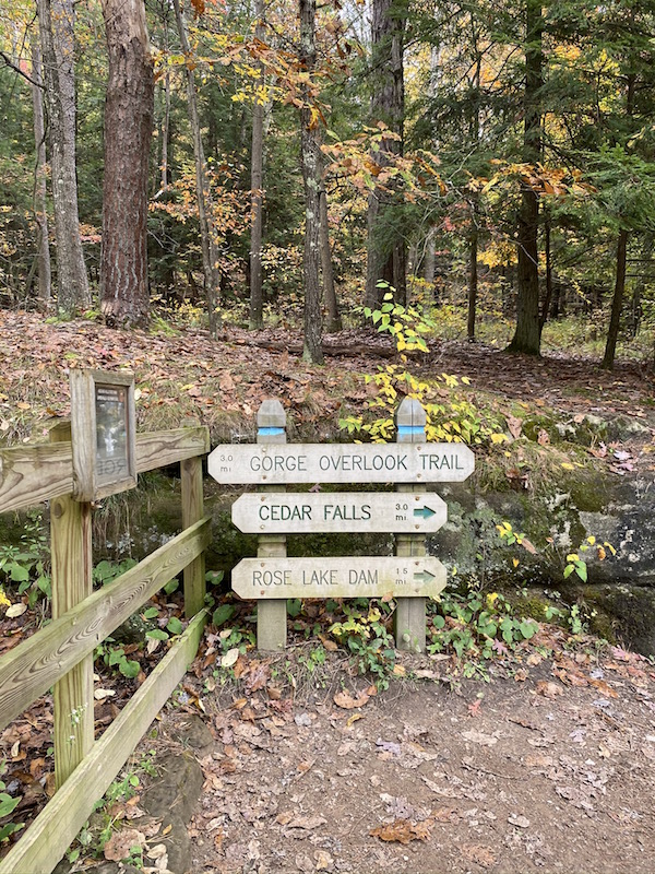 trail markers in the park