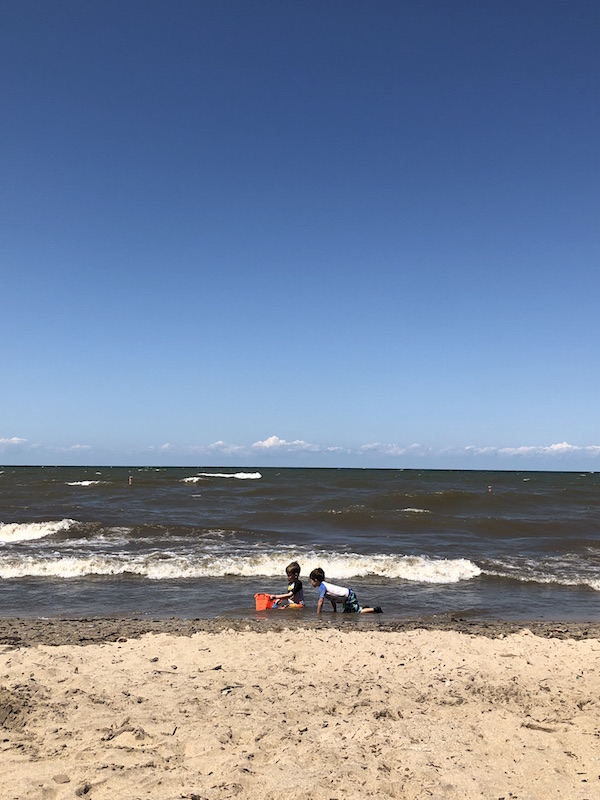 boys playing on the Lake Erie Beach in Vermilion Ohio