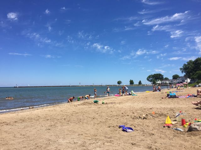 people on Main Street Beach in Vermilion Ohio - Lake Erie