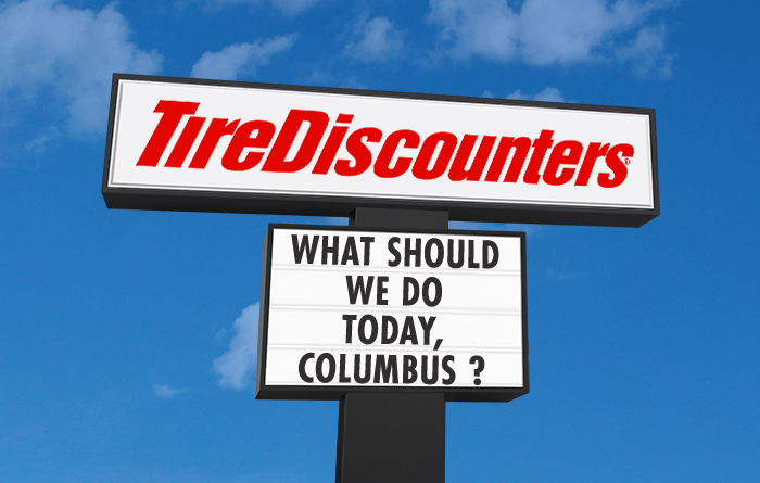 Tire Discounters store sign.