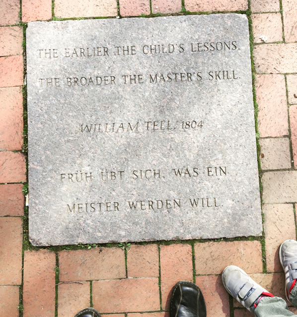 A quote by William Tell carved into the path in Schiller Park.