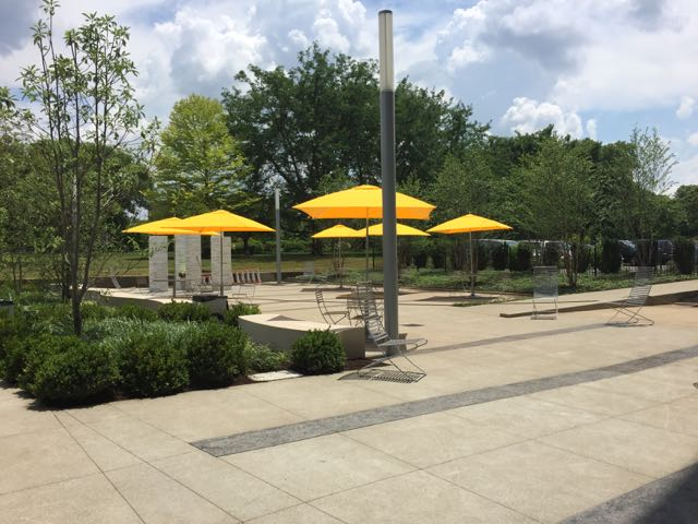 umbrellas on the patio of the Main Library.