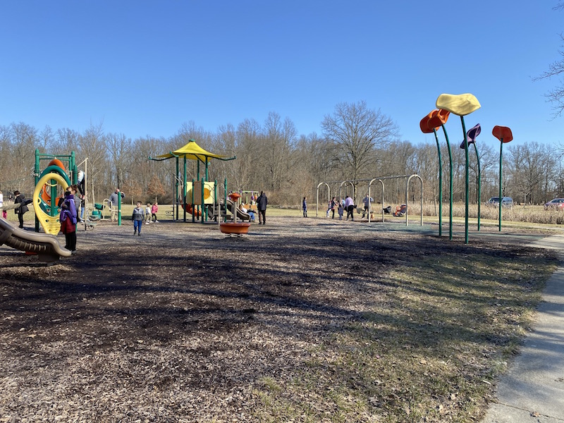 people and kids on the playground at Hannah Park in Gahanna.