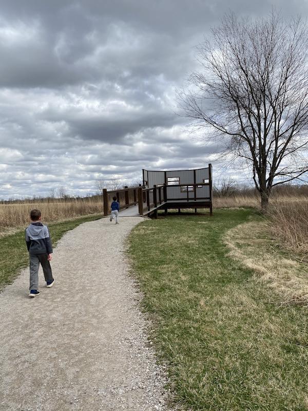 two boys on the path to the bird blind at Pickerington Ponds Metro Park.
