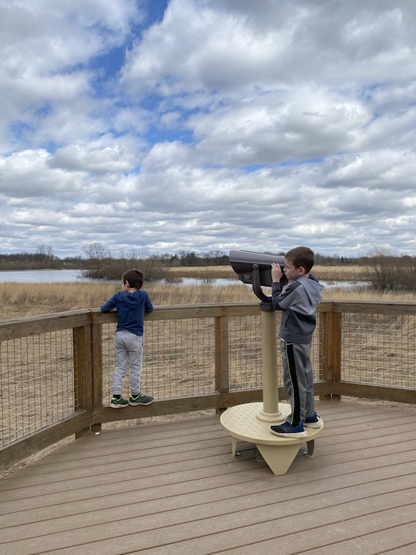 two boys on the observation deck.