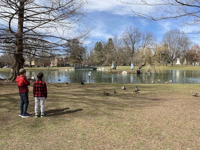 two boys looking at the pond in Schiller Park.