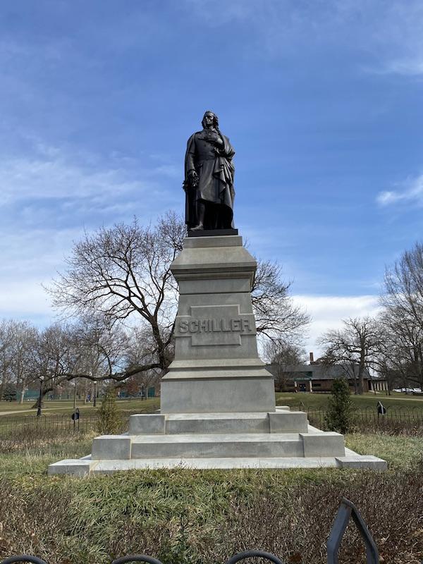 Schiller Statue in the park.