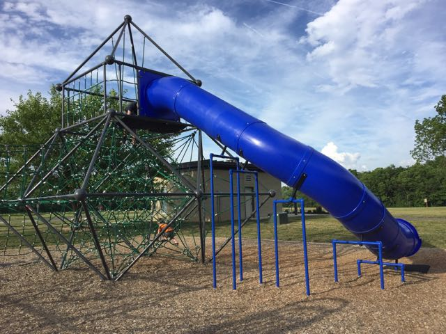 tall blue slide on the playground at Scioto Grove Metro Park.