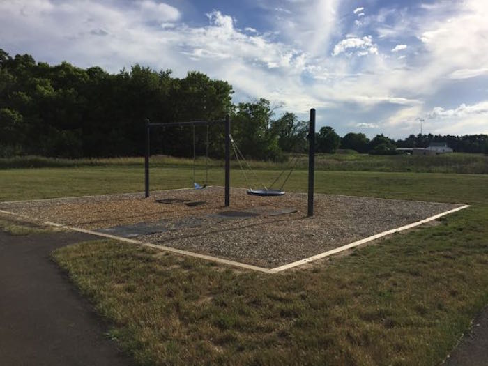 swings in the playground at Scioto Grove Metro Park.