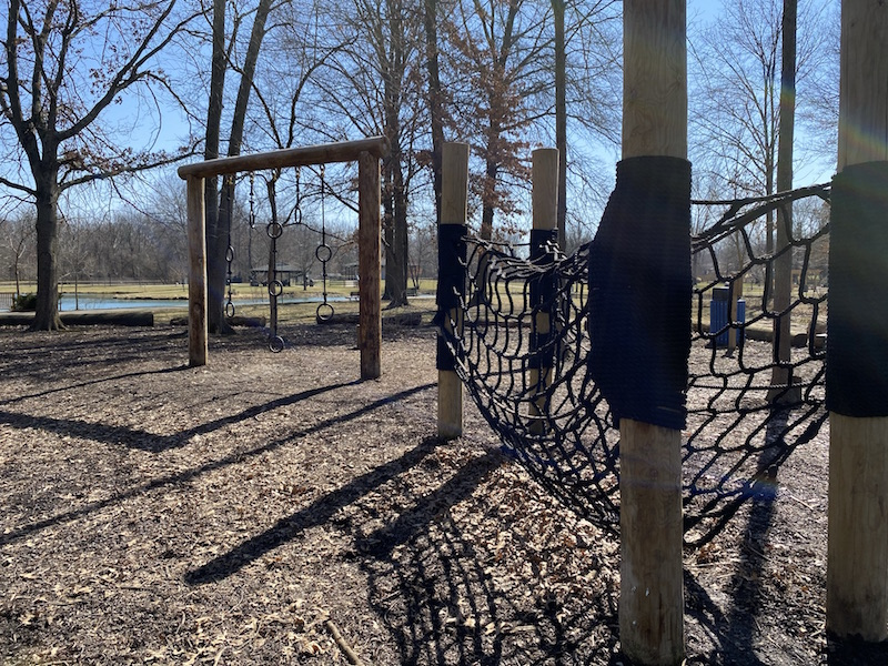 natural play area at Woodside Green Park in Gahanna.