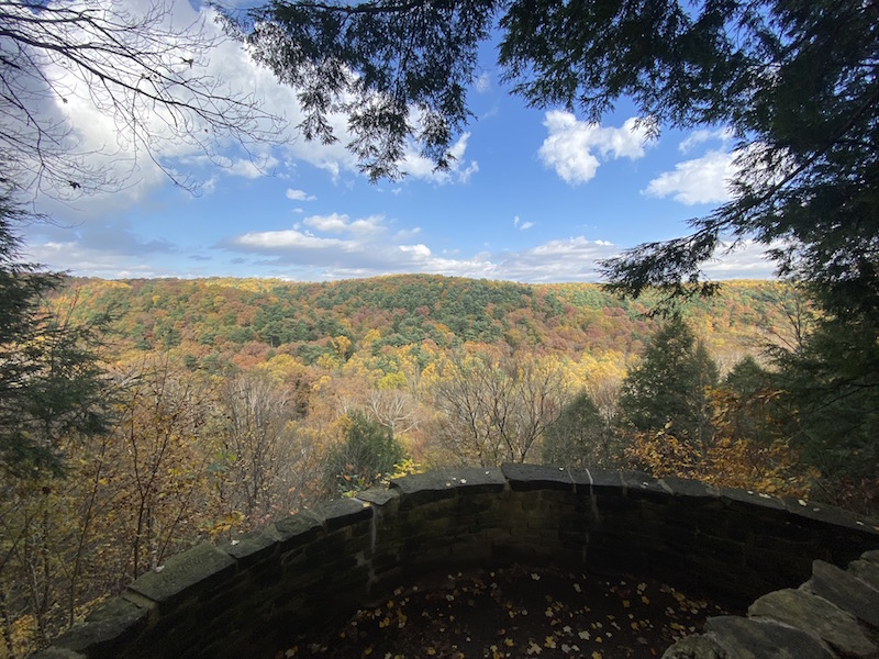 view of fall trees from Clearfork Gorge in Mohican State Park.