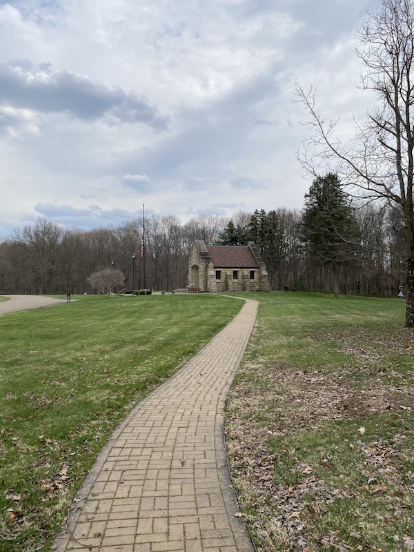 path leading to Ohio Memorial Forest Shrine in Mohican State Park.